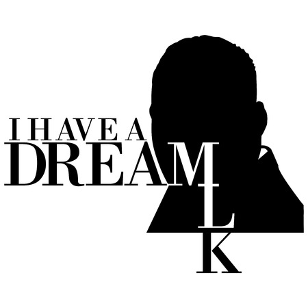 An illustration of a silhouette of Dr. Martin Luther King, Jr., on a white background along with the text I have a dream Stock Photo