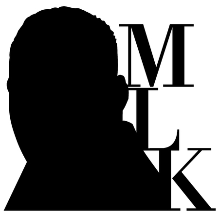An illustration of a silhouette of Dr. Martin Luther King, Jr., on a white background along with the text MLK
