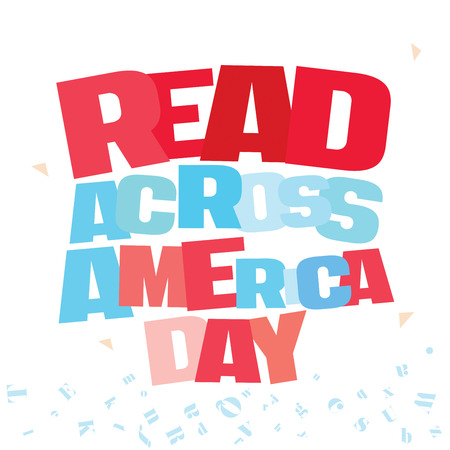 Typographic illustration of Read Across America Day in red and blue colors on an isolated white background
