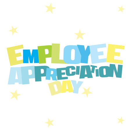 Typographic illustration of Employee Appreciation Day in blue and green colors on an isolated white background