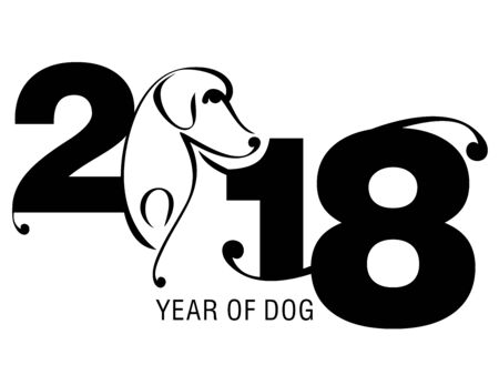 An illustration of the Chinese year of Dog with the numerals 2018