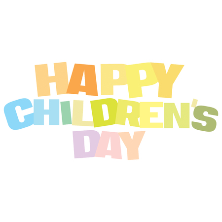 Typographic illustration of Happy Childrens Day in multi colors on an isolated white background Stockfoto