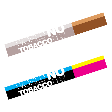 Two concepts on World No Tobacco Day in CMYK color scheme Stock Photo