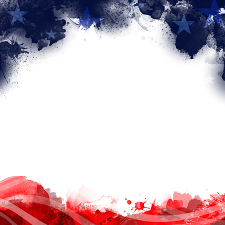 A header footer illustration of United States Patriotic background in flag colors with a blank white space Imagens - 102848025