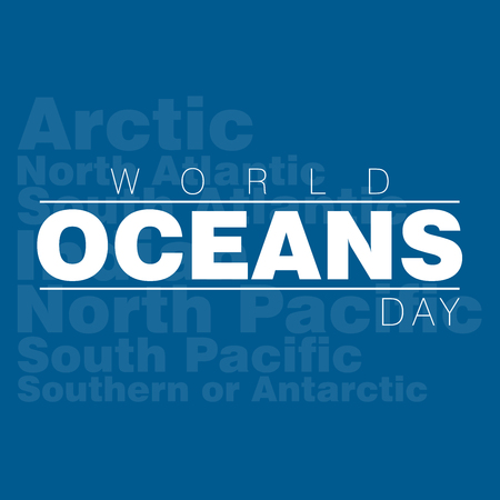 An abstract illustration for World Oceans day with the names of the five oceans