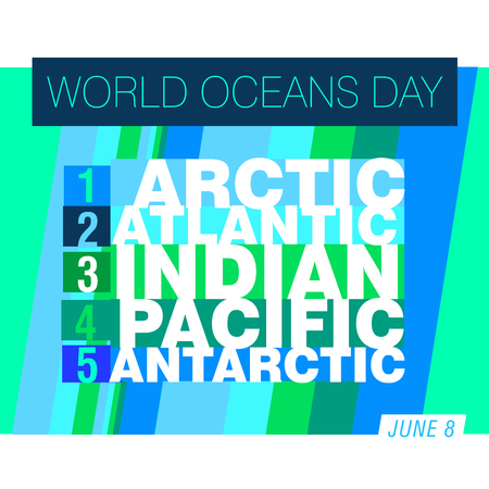 An abstract illustration for World Oceans day with the names of the five oceans Stock Illustration - 107740640