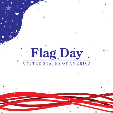 Flag Day illustration with the United States of America text on a flag day patriotic color scheme