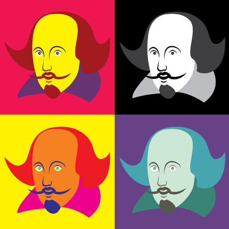 Ilustración vectorial de William Shakespeare en cuatro esquemas de color sobre un fondo blanco aislado