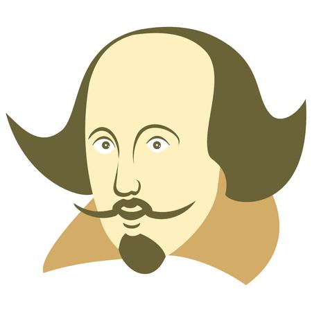 Vektorillustration von William Shakespeare im Karikaturstil auf einem isolierten weißen Hintergrund