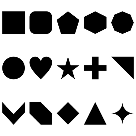 15 simple clean vector illustration of shapes in black on an isolated white background
