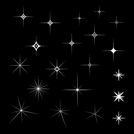 Set di scintillii bianchi su uno sfondo nero isolato in illustrazione vettoriale