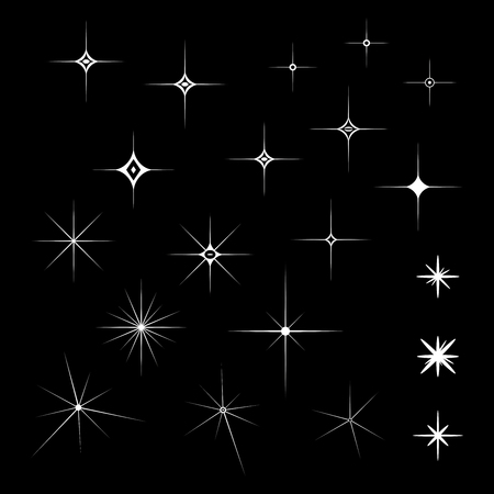 Set of White Sparkles on an isolated black background in vector illustration
