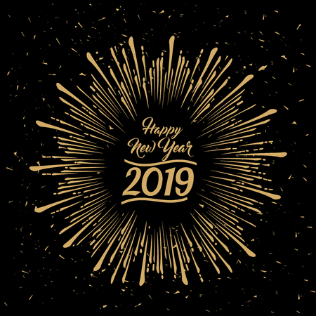 2019 Happy New Year radial grungy star burst gold design on black background with an effect of dust and scratches in vector style Ilustrace