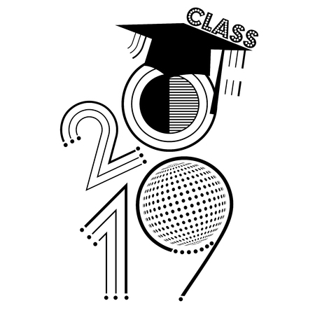 An abstract vector illustration of Class of 2019 in black and white 스톡 콘텐츠 - 107740917