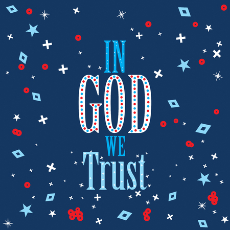 Poster on In God We Trust with stars and background in red blue and white flag colors