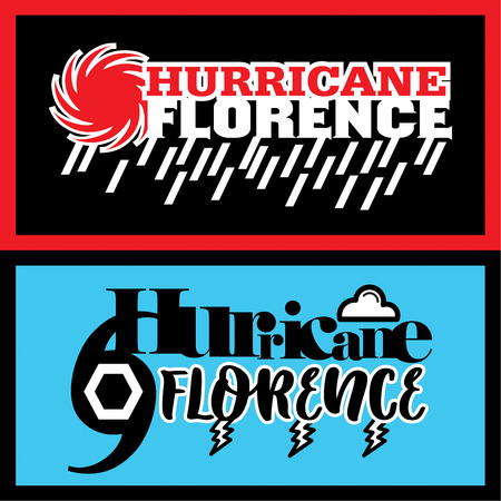 Two abstract vector mnemonic designs with rain and thunderstorm symbols of Hurricane Florence in red and blue color schemes