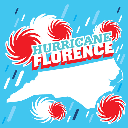 An abstract vector poster design with rain and thunderstorm symbols of Hurricane Florence on a blue background Illustration