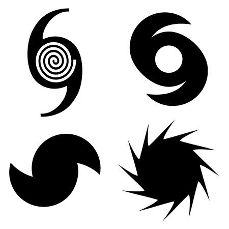 Quatre symboles vectoriels de l'ouragan Florence en noir sur fond blanc isolé