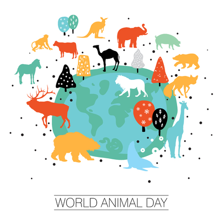 An abstract vector illustration of World Animal day on a white isolated background Illustration