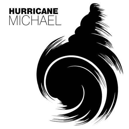 Brush style design of Hurricane Michael in big bold black strokes on an isolated   white background