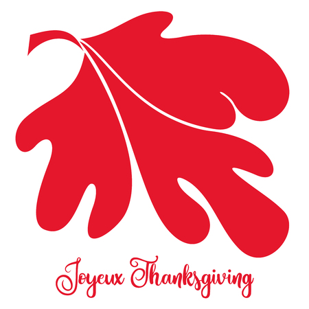 Big abstract red vector maple leaf on an isolated white background with the text Joyeux meaning Happy Thanksgiving in French