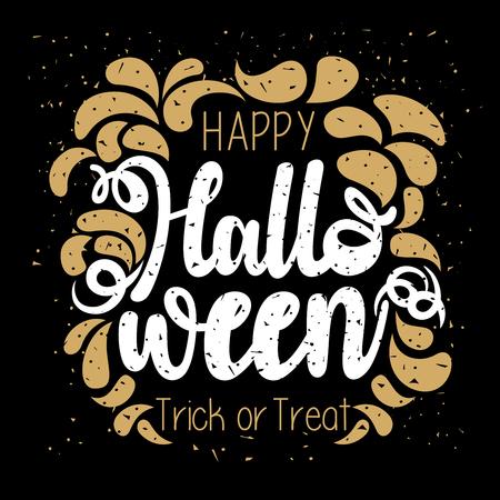 Gold and white flat glitter vector design of Happy Halloween typography on an isolated black background Vektoros illusztráció