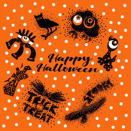 Spooky Halloween design elements in orange black and white with the text Happy Halloween on a polka dotted background