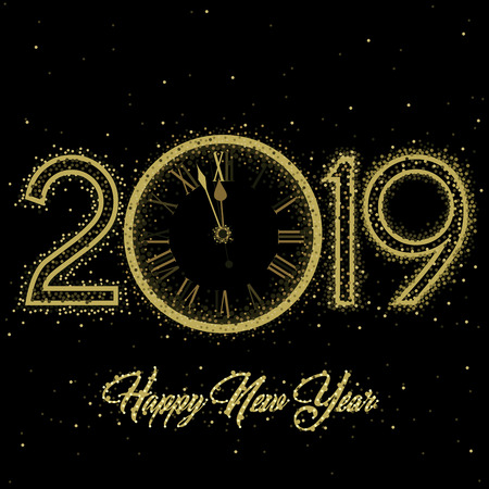 Gold Clock indicating countdown to 12 O' Clock 2019 New Year's Eve on a black   background Illustration