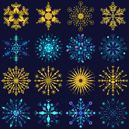 Set of sixteen blue and yellow snowflake designs on a dark blue background Ilustração