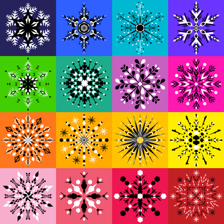Set of sixteen black and white snowflake designs on colorful backgrounds Çizim