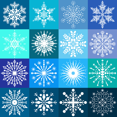 Set of sixteen white snowflake designs on multiple blue backgrounds Stock Illustratie