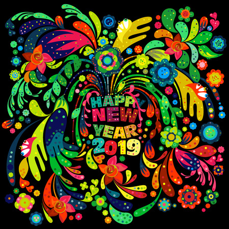 Colorful creative Happy New year 2019 wishes with intricate floral design elements on   a black background