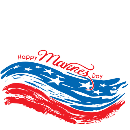 Happy Marines Day message with brush strokes in United States Flag colors on an   isolated white background