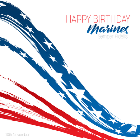 Happy Birthday Marines message with brush strokes in United States Flag colors on an   isolated white background