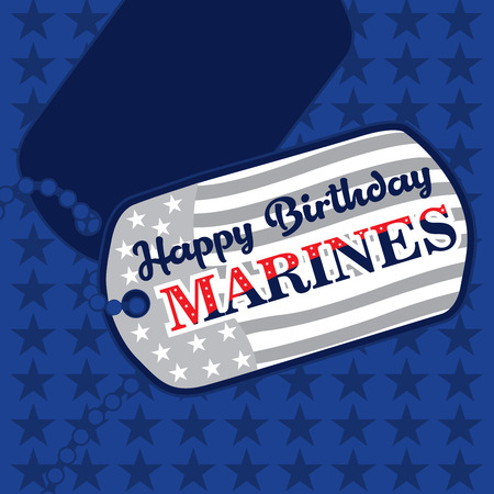 Happy Birthday Marines message on dog tags in United States Flag colors on a blue   background Stockfoto