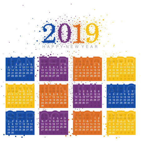 2019 Vector Calendar design with colorful scattered circles 写真素材 - 112587988