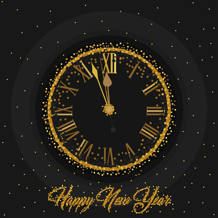 Gold Clock indicating countdown to 12 O Clock 2019 New Years Eve on a black background with gold dust