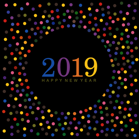 Colorful Happy New year 2019 wishes with dots and confetti elements on a black background