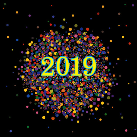 Colorful Happy New year 2019 wishes with clusters of dots and confetti elements on a black background