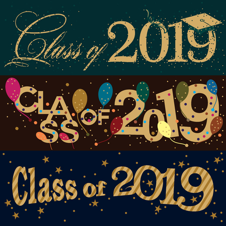 A set of three colorful vector typography banner designs on Class of 2019