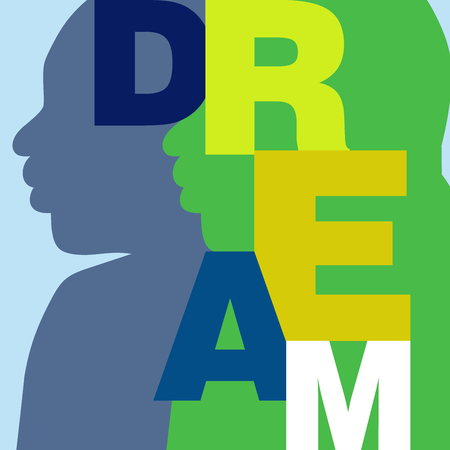 Simple typography vector poster promoting the American Dream Illustration