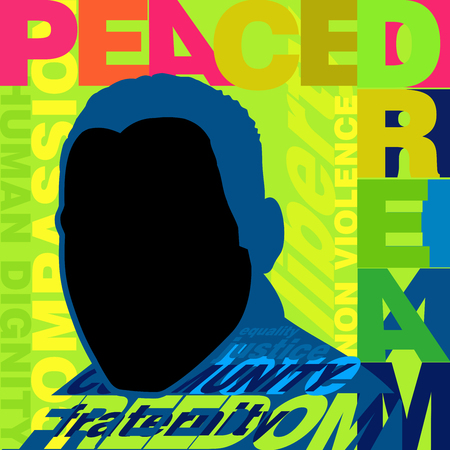 Colorful poster promoting peace and non violence for Martin Luther King day Ilustração