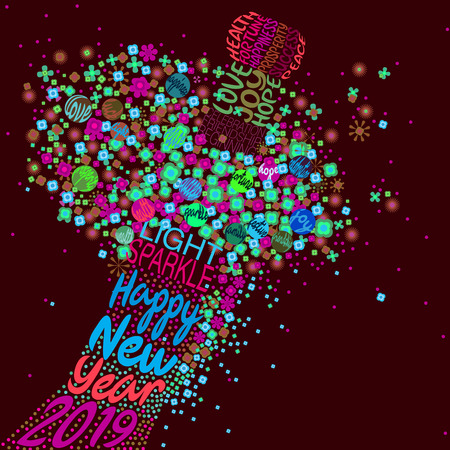 An abstract vector illustration of flowers popping from a typography champagne bottle with a fizz of splashed flora with a Happy New Year 2019