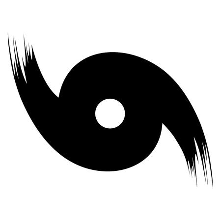 Un símbolo de huracán de vector de estilo de pincel abstracto en negro sobre un fondo blanco aislado Ilustración de vector