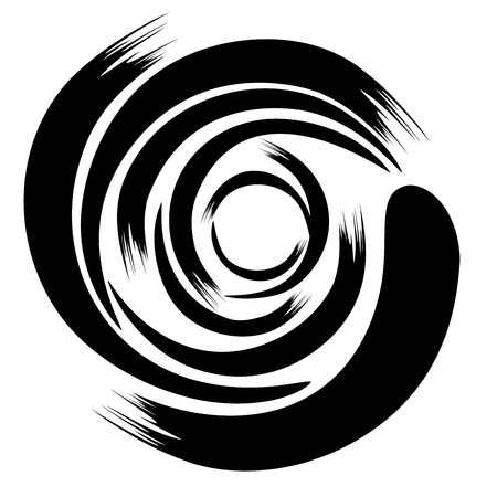 An abstract brush style vector Hurricane symbol in black on a white isolated   background