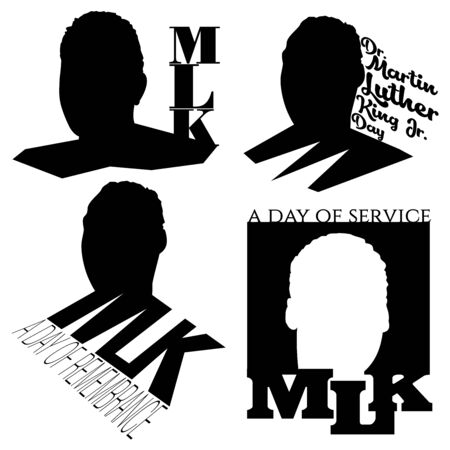 Four vector frontal silhouette illustrations of Dr. Martin Luther King, Jr., with the text MLK on a white background