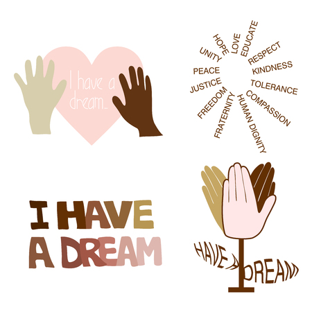 Pink and brown vector illustration of I have a dream typography on a white background for MLK Day