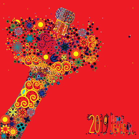 An abstract vector illustration of flowers popping from a champagne bottle with a fizz of  floral splash for the New Year 2019 on a red background