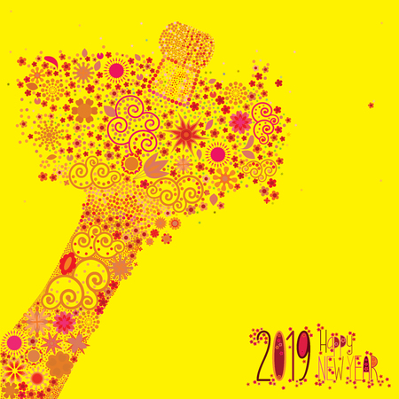 An abstract vector illustration of flowers popping from a champagne bottle with a fizz of floral splash for the New Year 2019 on a yellow background Stock Illustratie