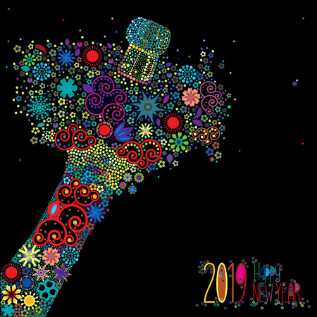 An abstract vector illustration of flowers popping from a champagne bottle with a fizz of  floral splash for the New Year 2019 on a black background